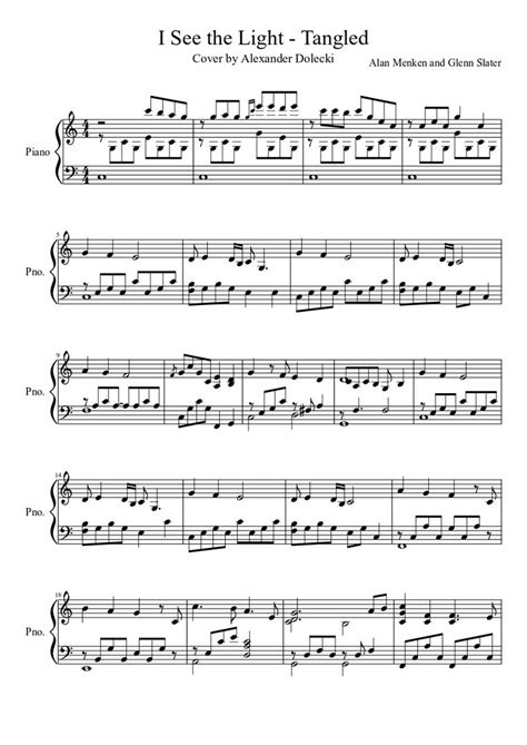 i see the light tangled piano solo free sheet music