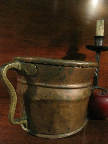 antique  colonial tavern hand wrought copper dovetailed pouring ewer flagon pitcher vessel