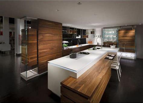 cuisine moderne ilot cuisine design blanche et bois avec îlot