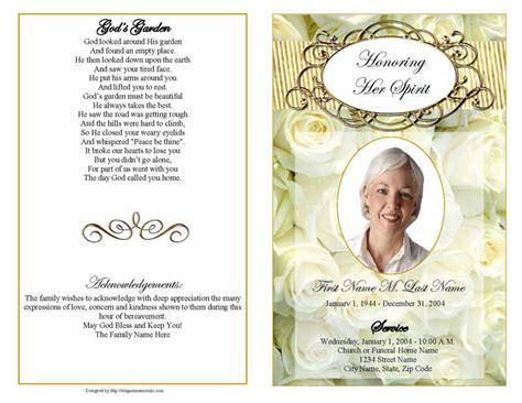 cherished white roses funeral program template elegant