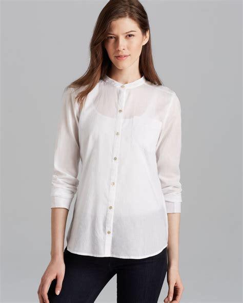 mandarin collar blouse eileen fisher mandarin collar boxy shirt in white lyst