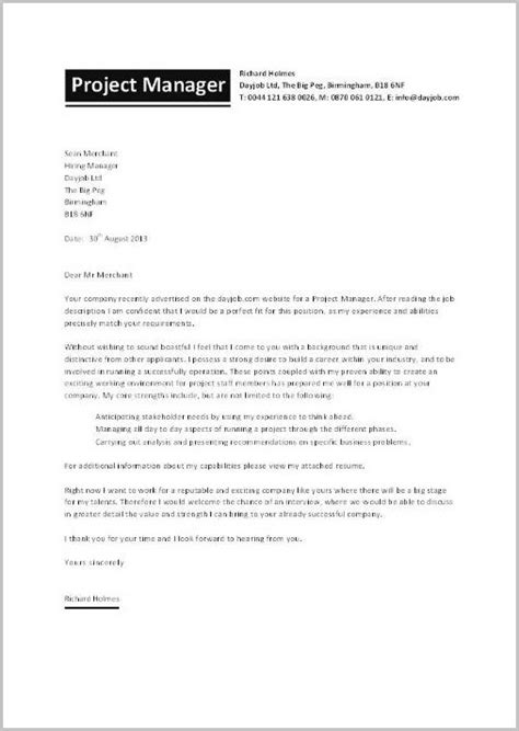 Cover Letter For Project Manager Application by Cover Letter Exles For Resume Project Manager Cover