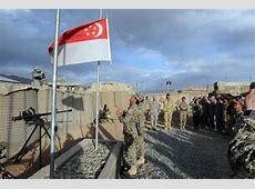 FileFlag lowering by Singapore troops, Kiwi Base, Bamyan