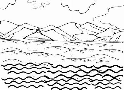Coloring Water Pages Land Waves Ocean Sky