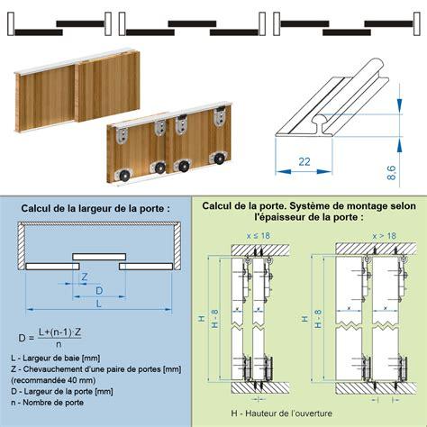 syst 232 me porte coulissante ares2 pour 2 portes de placard rail 1 2 m 70 kg