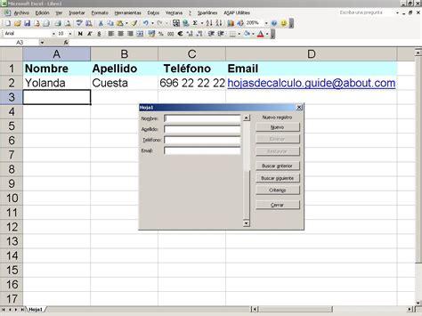 formulario de datos en excel