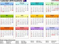 Australia Calendar 2019 free printable PDF templates