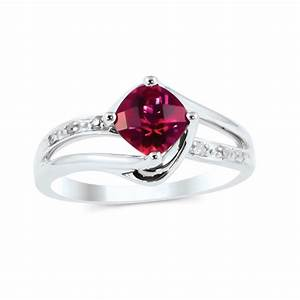 10k White Gold Ruby Bypass Twist July Birthstone Ring