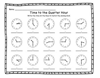telling time to the quarter hour printable worksheets by