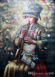 2018 Framed Beautiful Chinese Hmong Girl Playing Flute,100 ...