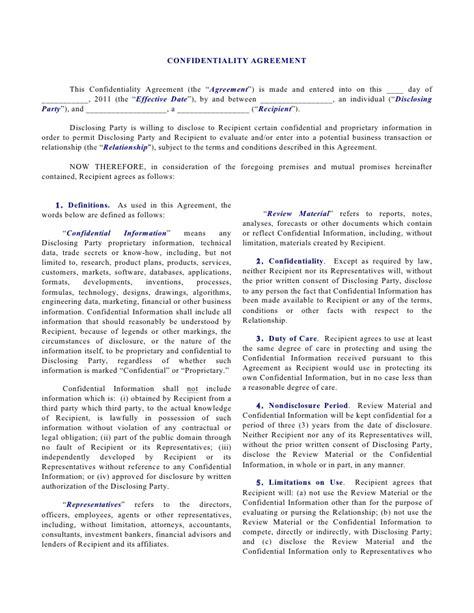 unilateral nda individual disclosing  corporation