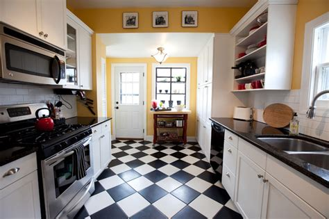 black and white kitchen floor ideas linoleum per la casa