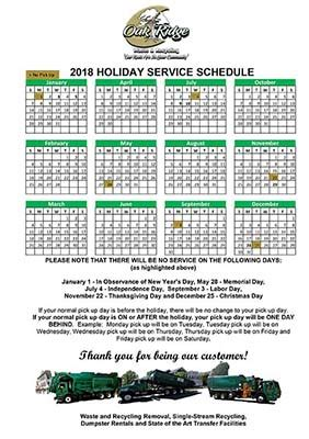 holiday calendar oak ridge waste recycling ct