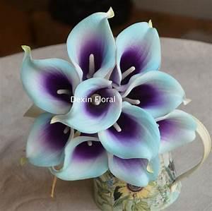10 Light Aqua Blue Purple Picasso Calla Lilies Real Touch ...