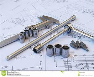 Engineering Tools On Technical Drawing Royalty Free Stock