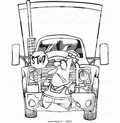 Coloring Rig Cartoon Semi Truck Vector Outline