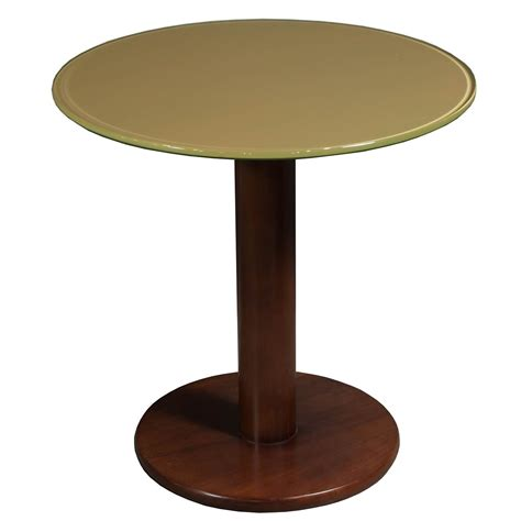 Used 24 Inch Wood Round Glass Table, Cherry National