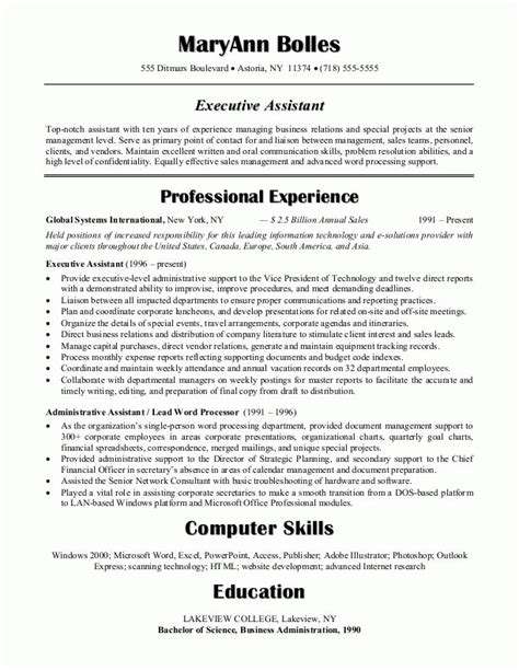 administrative assistant resume the perfect executive assistant resume recentresumes com