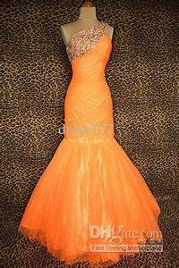 NEON ORANGE EVENING PAGEANT PROM FORMAL BALL GALA GOWN