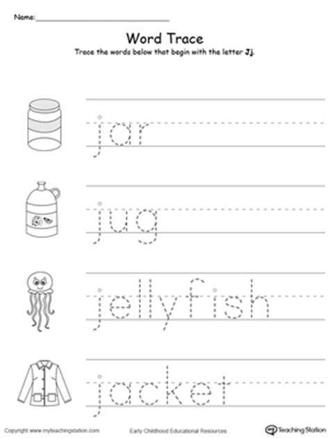 trace words that begin with letter sound j 472 | Tracing Words That Begin With Letter Sound J