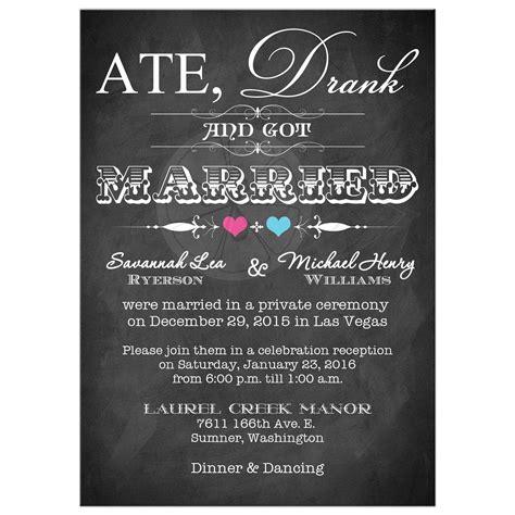 Post Wedding Invitation   Chalkboard   Scrolls   Pink and Blue Hearts