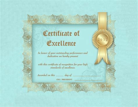 certificate  excellence templates sample word ai