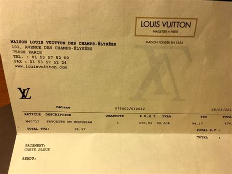 8310af870fa Authentic France Louis Vuitton Receipt