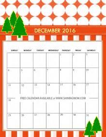 Cute December Calendar 2016