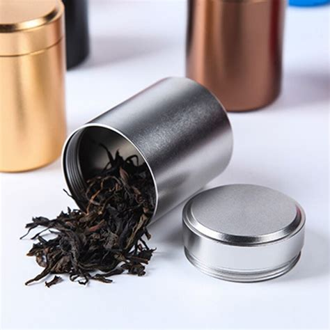 Plus, it looks luxurious so you'll gladly leave it out on your countertop. Tea Caddy Mini Aluminum Storage Boxes Sealed Coffee Powder Cans Tea Leaves Container Portable ...