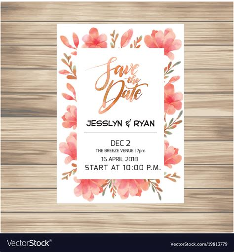 Save the date wedding invitation card with pink fl