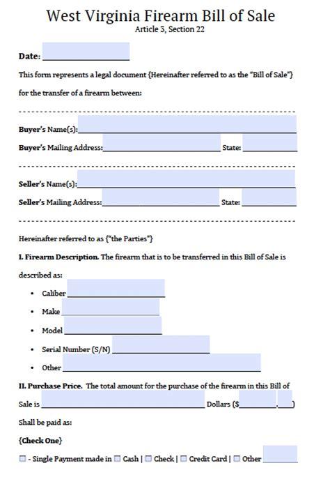 west virginia firearmgun bill  sale form