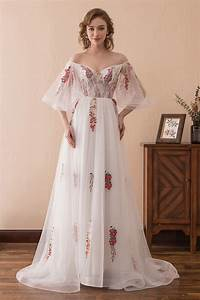 fairy tale off the shoulder puffy prom dress with color With robe de mariée petite taille