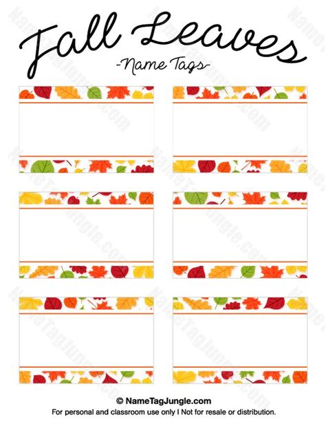 leaf name card template free printable fall leaves name tags the template can