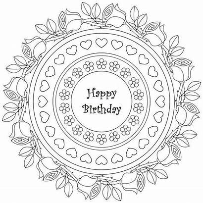 Coloring Birthday Happy Pages Adult Adults Mandala