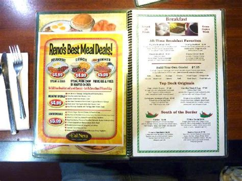 neva cuisine menu menu picture of top deck restaurant reno tripadvisor