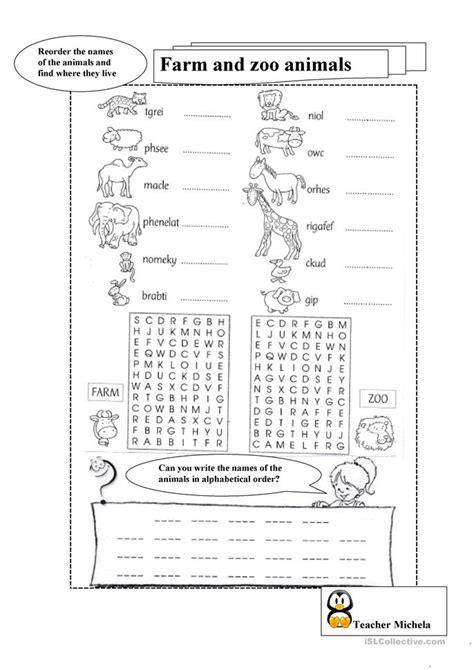 farm  zoo animals  alphabetical order worksheet