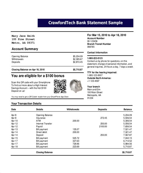 Free Bank Statement Template bank statement template 22 free word pdf document