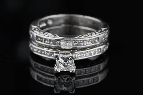 pre owned diamond and platinum wedding ring set pre owned diamond and platinum wedding ring set