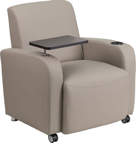 gray leather tablet arm guest chair with cup holder bt