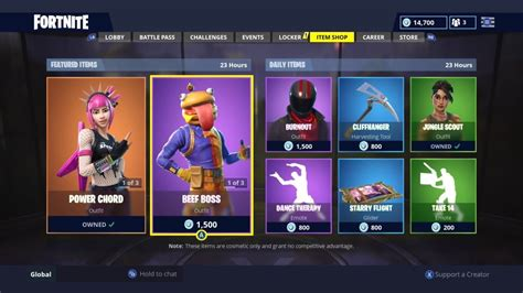 power chord returns daily item shop today fortnite