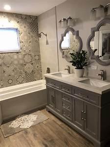 Gray, And, Beige, Bathroom