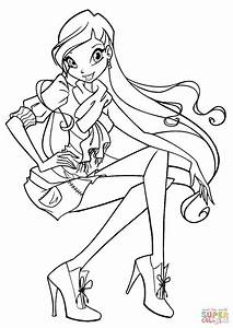 Winx Club Stella Coloring Page Free Printable Coloring Pages