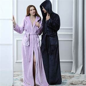 lovers thermal hooded extra long flannel bathrobe women With robe extra longue