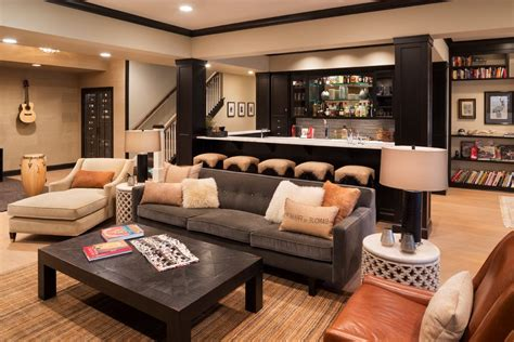 area basement transitional  chaise lounge