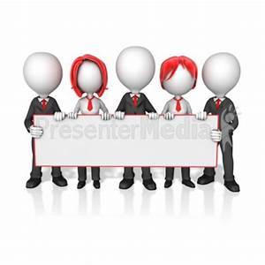 Business Worker Group Holding Long Sign - Presentation ...