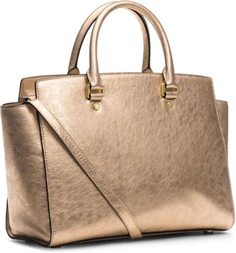 michael michael kors large selma topzip satchel in gold