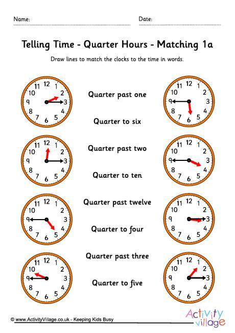 Telling Time Worksheets  Quarter Hours  Pack 5