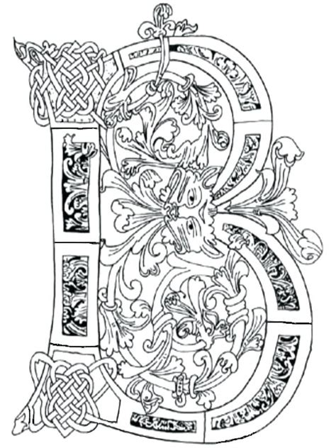 illuminated letters coloring pages  getcoloringscom