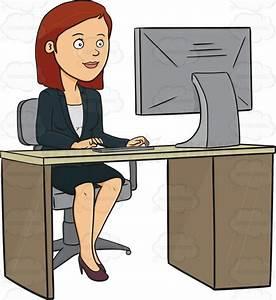 Brunette Sitting At A Desk Working On A Computer Cartoon ...