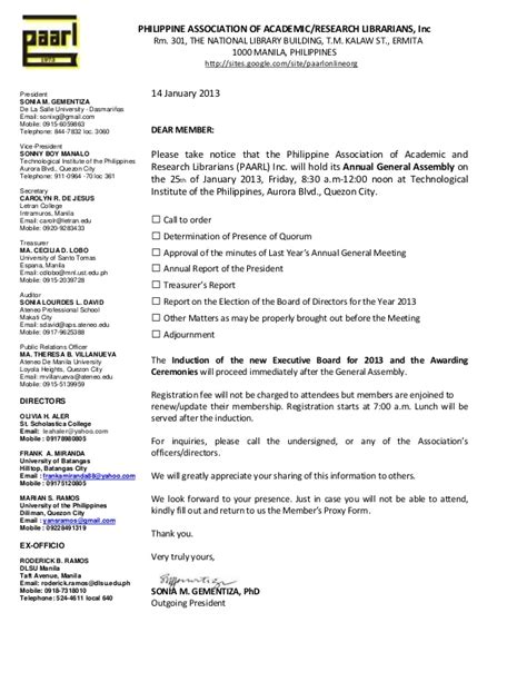 paarl invitation letter  attend   general